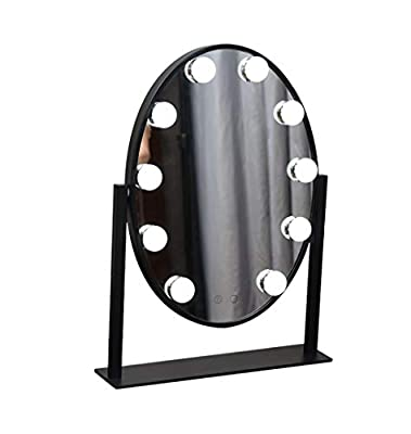 Wall-Mounted Mirrors Oval Vanity Mirror with 10 LED Lights Bulbs Illuminated Kit as Makeup Mirror Shaving Mirror for Dressing Tables Hollywood Style Bathroom Accessories
