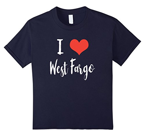Kids I Love West Fargo T Shirt 10 Navy