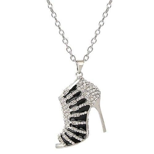 EVER FAITH High-Heel Black Enamel Clear Austrian Crystal Pendant Necklace