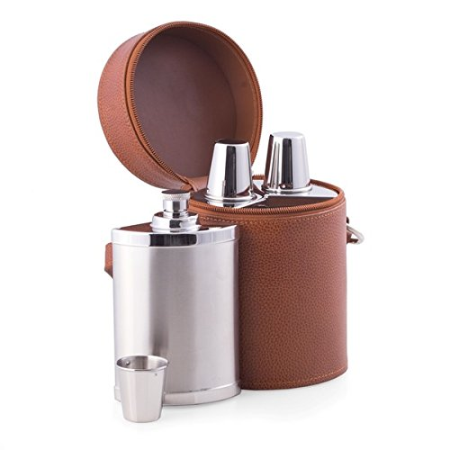 6 Pc. Leather Bar Set with 3 Flasks and Shooter Cups by Bey-Berk