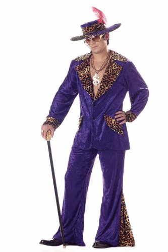 [Deluxe Purple Pimp Men's 1970s Fancy Dress Outfit 70s Adult Costume + Hat Medium by Rubies] (Dress Deluxe Costumes)