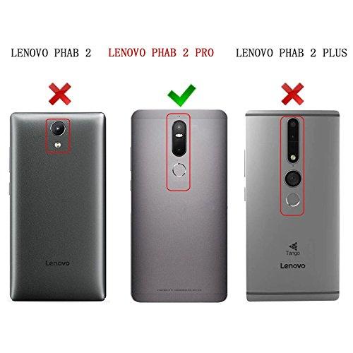 Lenovo Phab 2 Pro carcasa funda / funda / caso, KuGi ® Lenovo Phab 2 Pro funda carcasa / caso - Caso Monedero pata de cabra de alta calidad PU cuero for Lenovo Phab 2 Pro smartphone.(Negro) Azul