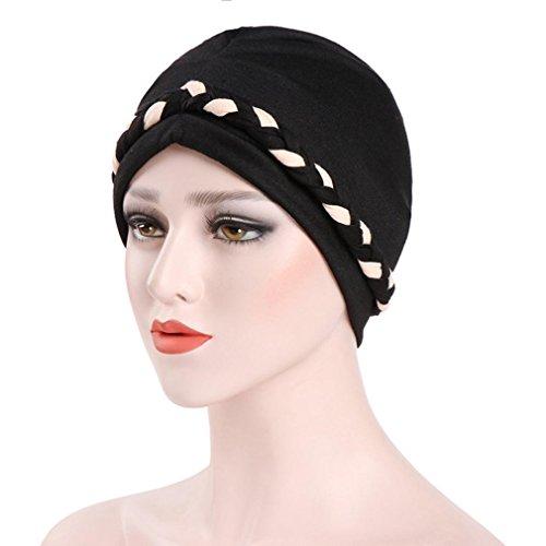 Women India Hat Muslim Ruffle Cancer Chemo Hat Beanie Scarf Turban Head Wrap Cap Laimeng_World (Black)