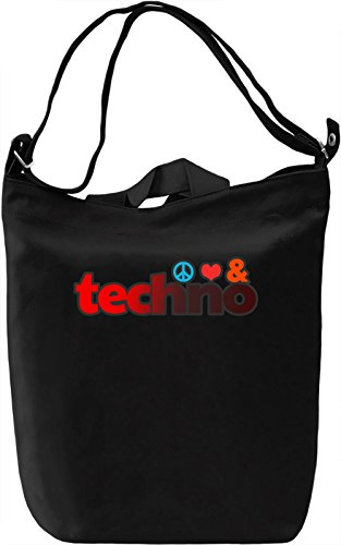 Peace, Love, & Techno Borsa Giornaliera Canvas Canvas Day Bag| 100% Premium Cotton Canvas| DTG Printing|