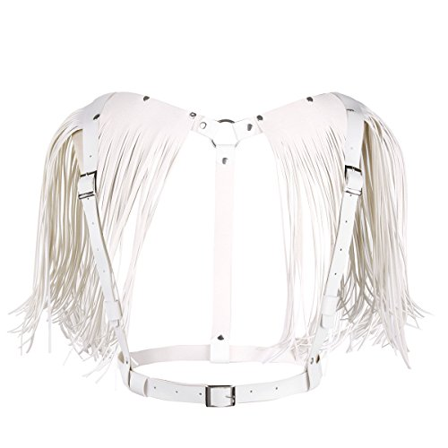 Freebily Women PU Leather Adjustable Body Chest Harness Belt with Shoulder Tassel White One Size