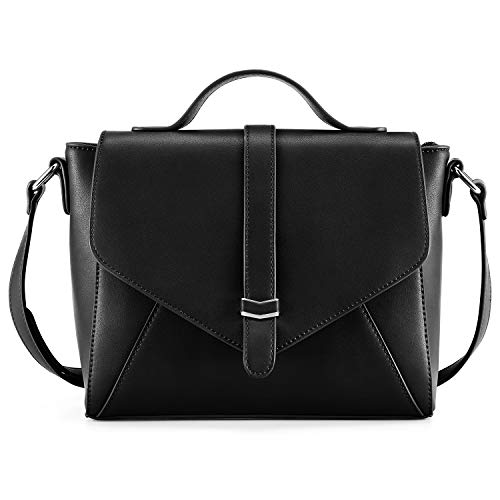 Plambag Crossbody Handbag for Women, Ladies Designer Satchel Shoulder Bag with Adjustable Strap(Black)