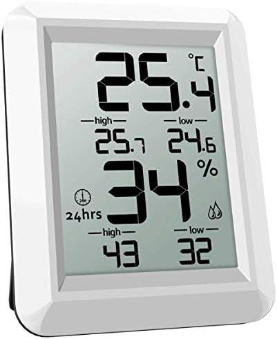 Naliovker Temperatur Feuchte Monitor, Digitales Thermometer, Thermometer Hygrometer Fuer Innen, ℃/℉ Schalter, LCD Bildschirm, Min/Max Rekorde, Fuer Lager, Zuhause, Buero, Gewaechshaus