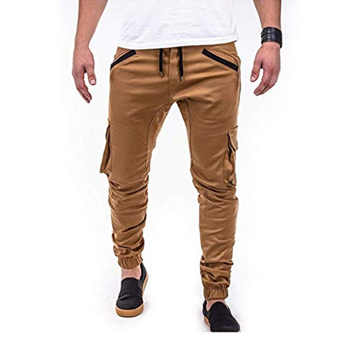 Fanteecy Men's Cargo Pants Jogger Jeans Combat Elasticated Waist Casual Trouser Outdoor Hiking Sweatpants Chino Trousers Khaki