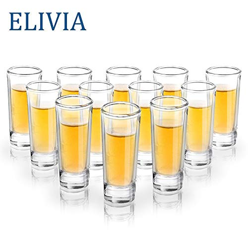 ELIVIA Shot Glass Set with Heavy Base, 2 oz Clear Glasses for Whiskey, Liqueurs and Dessert (12 pack) ()