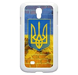 Ukraine Flag-Wall-Art- Case for the Samsung Galaxy S4 i9500- Hard White Plastic Snap On Case with Soft Black Rubber Lining wangjiang maoyi