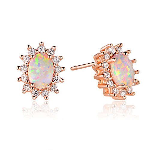 GEMSME Rose Gold Plated Created Opal And Cubic Zirconia Oval Halo Stud Earrings (Rose)