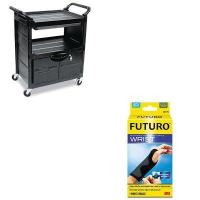 KITMMM10770ENRCP345700BLA - Value Kit - Rubbermaid Utility Cart w/Locking Doors (RCP345700BLA) and Futuro Adjustable Reversible Splint Wrist Brace (MMM10770EN) by Rubbermaid