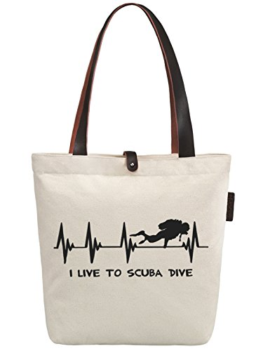 So'each Women's I Live To Scuba Dive Top Handle Canvas Tote Shoulder Bag