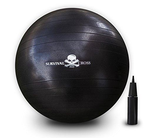 Ejercicio Yoga bola 65cm 1000lbs anti-burst con bomba de mano supervivencia y Cruz