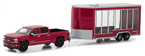 GreenLight 1:64 Hitch & Tow Series 12 2016 Chevrolet Silverado and Glass Display Trailer Diecast Vehicles (Vehicles Trailer)