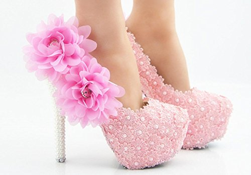 YCMDM donna di grandi dimensioni da sposa Scarpe bene con scarpe sexy rotondo del merletto di rosa cipria Fiore bocca superficiale , 11 cm with high reservation , 43