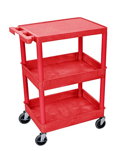 Utility Cart Tub Bottom Shelf - Offex OF-RDSTC211RD Flat Top and Tub Middle/Bottom Shelf Cart