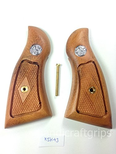 New Smith & Wesson K/L S&W K L Frame Square Butt Revolver Grips Hardwood Wood Finger Groove Smooth Handmade Beautiful Handcraft Special Design Grip Sport for Men Birthday Gift #Ksw43 (Models With Best Butts)