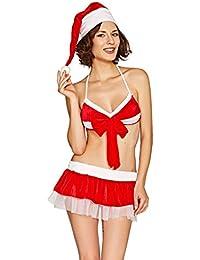Mrs Santa Red and White Bra and Net Skirt Set BS53