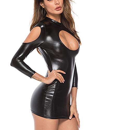 (Women's Sexy V Neck Sleeveless Wrap Leather Bodycon Pencil Party Bandage Dresses (XL, G))