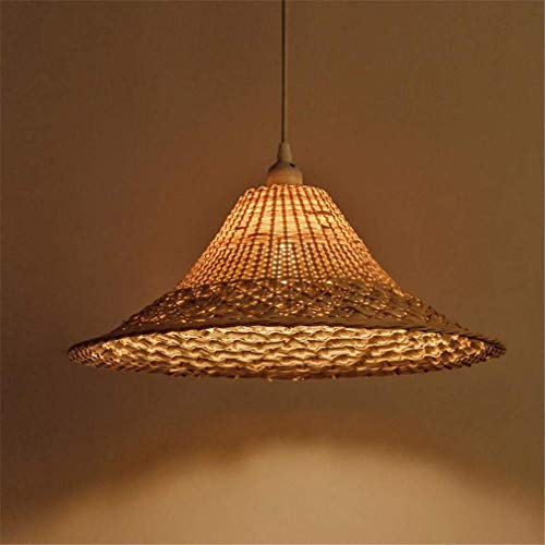 (ChuanHan Ceiling Fan Light Chandelier Lightings Wicker Rattan Straw Hat Shade Pendant Fixture Japanese Tatami Hanging Design for Restaurant Bar Dining Table Room Chandeliers)