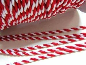Roll of 25 yards Red/White 2mm Braided Twist Twine Cord Trim (T116-Red) US Seller Ship Fast