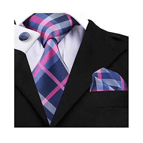 Dubulle Mens Plaid Pink and Blue Necktie Hankerchief Set Woven Silk -