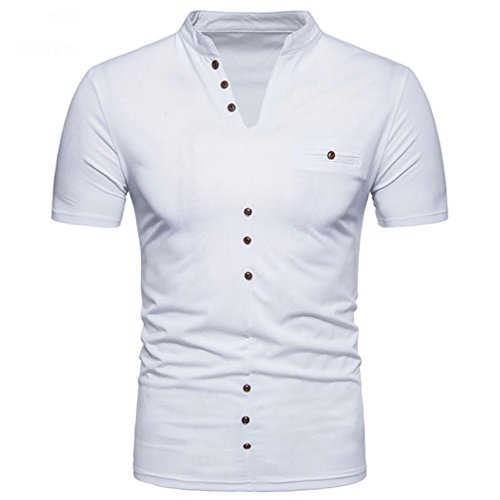 Mens T-Shirt ! Charberry Mens Henry Neck Short Sleeve T-Shirt Summer Casual Solid V Neck Pullover Short Sleeve T-shirt Top Blouse (US-XL /CN-L2, White)