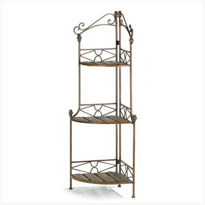 Rustic Style Metal Scrollwork Corner Bakers Rack Shelves