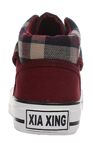 5 Lace Shoes US Plats iMaySon M Fashionable Red Casual Canvas up B For Plaid Women 7 qx0f1PEwf