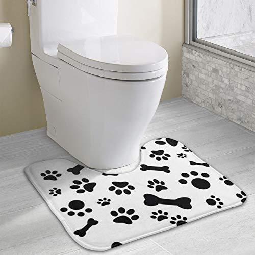 Star River Dog Paw Bone Funny Bath Toilet Rug Mats for Bathroom U Shaped Carpet,Machine Washable Non-Slip Floor Toilet Mat