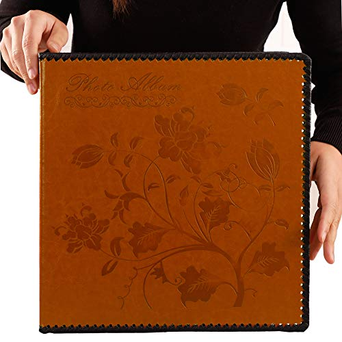 Totocan Photo Album Self Adhesive, Extra Large Magnetic Self-Stick Page Picture Album with Leather Vintage Inspired Cover, Hand Made DIY Albums Holds 3X5, 4X6, 5X7, 6X8, 8X10 Photos, Scrapbook Album