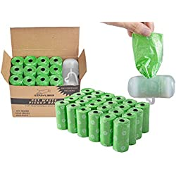 EXPAWLORER Green Dog Poop Bags Degradable Leak-Proof Pet Waste Bag includes Dispenser 24 Rolls / 480 Count