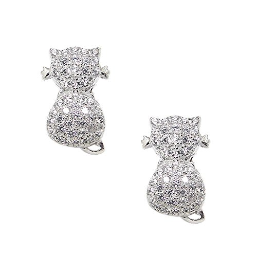 (925 Solid Sterling Silver Tiny Cubic Zirconia Cat Stud Earrings - Mini CZ Small Kitty Animal Jewelry)