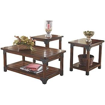 Ashley Furniture Signature Design - Murphy 3 Piece Occasional Table Set Medium Brown  sc 1 st  Amazon.com & Amazon.com: Ashley Furniture Signature Design - Murphy 3 Piece ...
