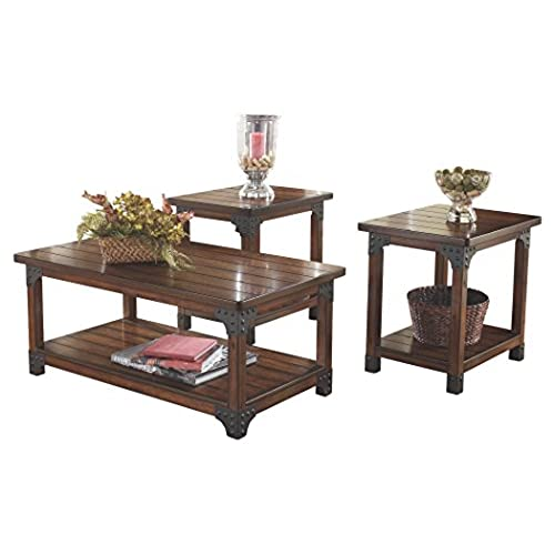 Ashley Furniture Signature Design - Murphy Coffee Table and End Tables - Cocktail Height - 3 Piece Occasional Table Set - Rectangular - Medium Brown  sc 1 st  Amazon.com & Coffee and End Table Sets: Amazon.com