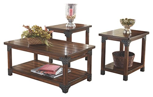 Rustic Occasional Tables (Ashley Furniture Signature Design - Murphy Coffee Table and End Tables - Cocktail Height - 3 Piece Occasional Table Set - Rectangular - Medium Brown)