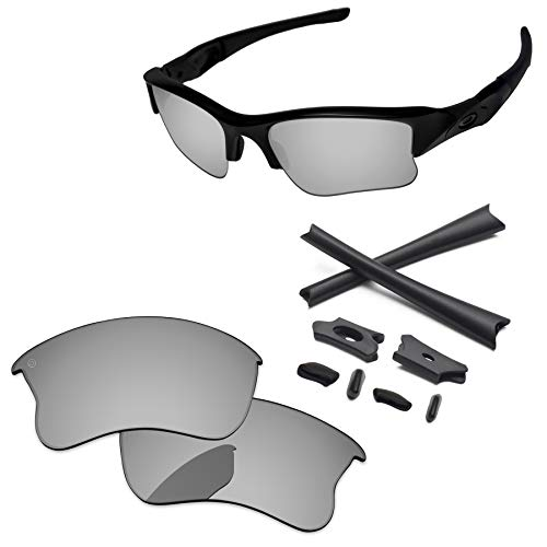 (PapaViva Lenses Replacement & Rubber Kits for Oakley Flak Jacket XLJ Pro+ Chrome Silver Polarized)