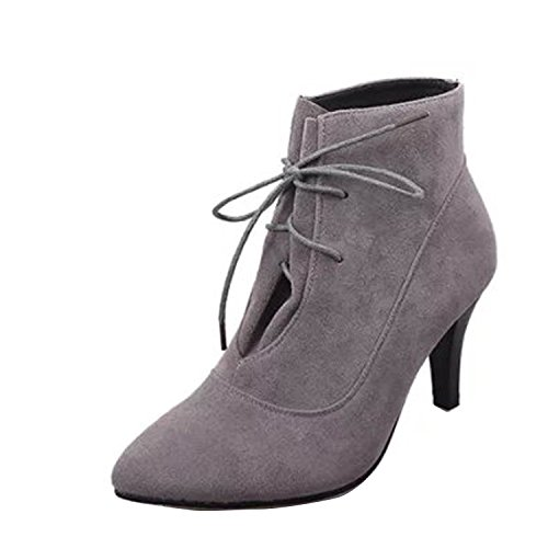 Gaorui Ladies Ankle Boots Faux suede stiletto heel closed toe boots Grey