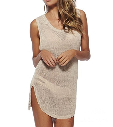 FTSUCQ Womens Sexy Sleeveless Beach Bikini Swimwear Cover-up Apparel Beige