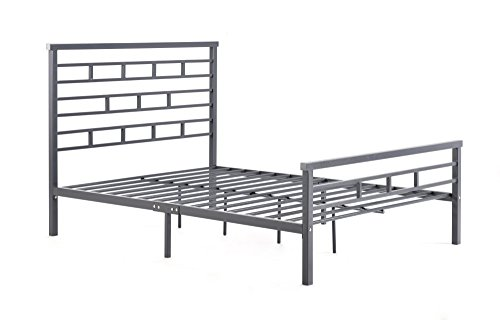 Hodedah Complete Metal Bed with Headboard, Low Footboard, Slats and Rails, Queen Size, Grey