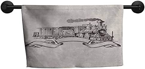 xixiBO Personalized Towel W 20 x L 20(inch) Soft and Durable,Vintage,Old School Steam Locomotive with Banner on an Off White Background Monochrome,Cream and Black