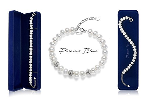 ☆Summer Sale☆ Picasso Blue Stylized Natural Fresh-Water-Cultured AAA Button Round Pearl Bracelet | 18k White-Gold-Plated Clasp | Zircon & Ceramic | Length 7.5'', Pearl 8-9mm