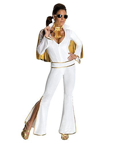 Womens Elvis Costume Rockstar Celebrity Costume 60s Retro White Jumpsuit Sizes: Small