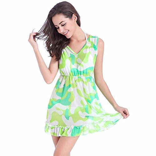 SHISHANG Señoras de la falda de la playa de Europa y los Estados Unidos era fina del verano nueva tendencia de la impresión de la playa de la falda de princesa de la manera de la falda de alto grado m b green camouflage