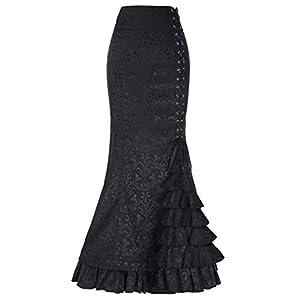 Women's Steampunk Victorian Mermaid Skirt High Waist Vintage Maxi Skirt BP000204