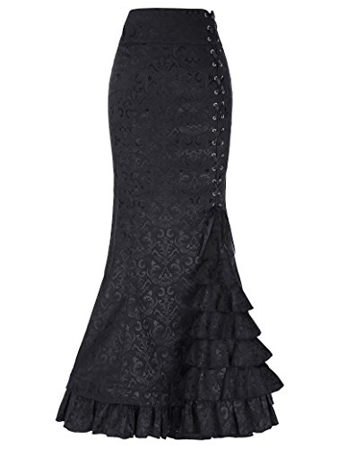 Belle Poque Women's Steampunk Victorian Mermaid Skirt High Waist Vintage Maxi Skirt BP000204