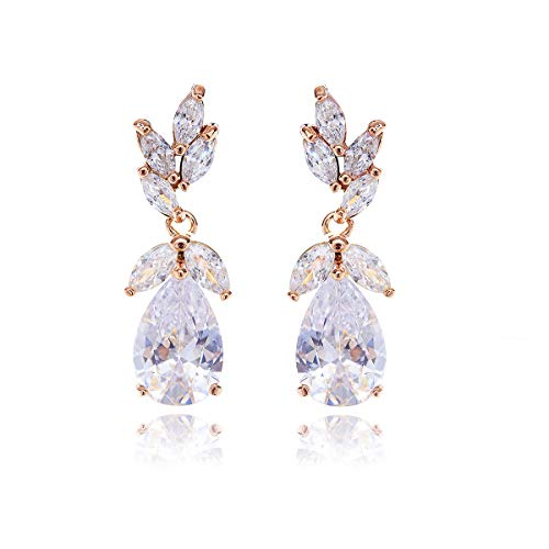 Women's Elegant Rose Gold CZ Bridal Earring Teardrop Cubic Zirconia Cluster Floral Leaf Crystal Rhinestone Wedding Dangle Drop Earring for Bride Bridesmaids Mother of Bride Party Prom Dance Earrings