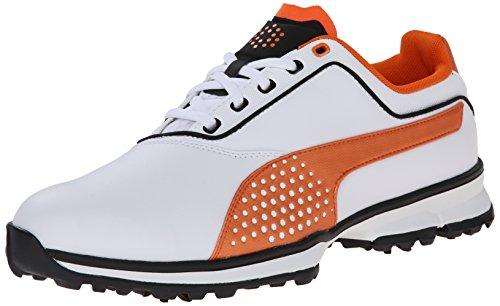 PUMA Men's Titanlite Golf Shoe, White/Black/Vibrant Orange, 13 M US