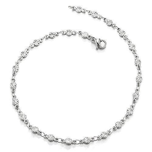 COOLSTEELANDBEYOND Stainless Steel Grooved Flower Link Chain Anklet Bracelet for Women
